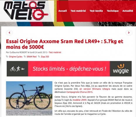 Matosvelo.fr Test Origine Axxome 250 / Sram Red