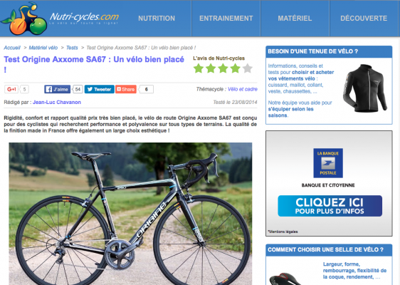 Nutri-cycles.com Test Origine Axxome SA67